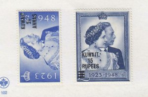 KUWAIT # 82-83 VF-MLH KGV1 1948 SILVER WEDDING