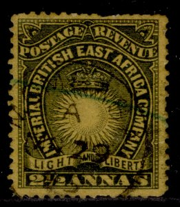 BRITISH EAST AFRICA QV SG7, 2½a black/yellow-buff, FINE USED. Cat £35.