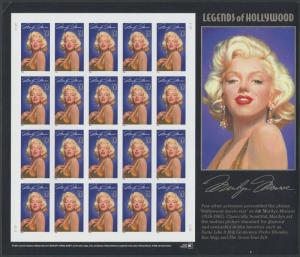 #2967a 32¢ MARILYN MONROE PANE OF 20 IMPERF MAJOR ERROR WL8221