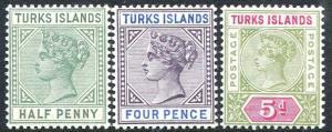 TURKS ISLANDS-1893-95 Set of 3 Values Sg 70-72 LIGHTLY MOUNTED MINT V25970