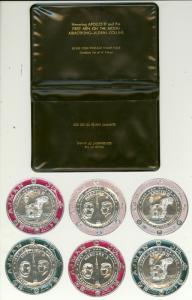 AJMAN 1969 APOLLO 11 SILVER FOIL MOON LANDING Set JFK in Folder JFK MNH