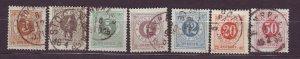 J22819 JLstamps 1877-9 sweden used #28-33,36 numerals perf 13 $16.60 scv