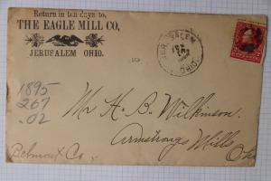 Eagle Mill Co ad Jerusalem OH Hand Cancel 1896 Quaker Mormon town Settlement