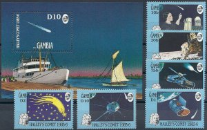 1986 Gambia Halley´s Comet, Ships, Souvenir Sheet+complete set VF/MNH, CAT 30$