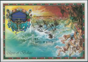 Cayes of Belize 1985 $5 Shipwreck MS MNH