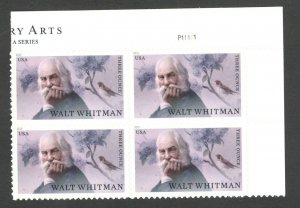 5414 Walt Whitmam Three Ounce (85c) Plate Block Mint/nh FREE SHIPPING