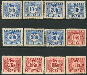 SLOVAKIA Sc#J1-J12 1939 Unwatermarked Postage Dues Complete Set OG Mint Hinged