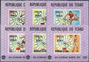 1972 Chad Olympics Munich, 6 Single Sheets VF/MNH! pay only 15%! CAT 220$