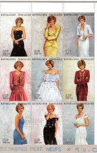 Togo 1997 Sc#1798 Diana Princess of Wales Sheetlet (9) Annule Specimen
