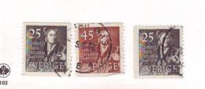 Sweden Sc427-9 1951 Polhem stamps used
