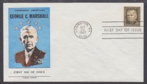 US Mel 1289-29 FDC. 1967 20c George C. Marshall, Fluegel Color Cachet, VF