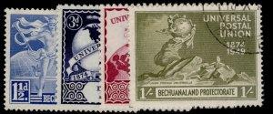 BECHUANALAND PROTECTORATE GVI SG138-141, anniversary of UPU set, FINE USED.