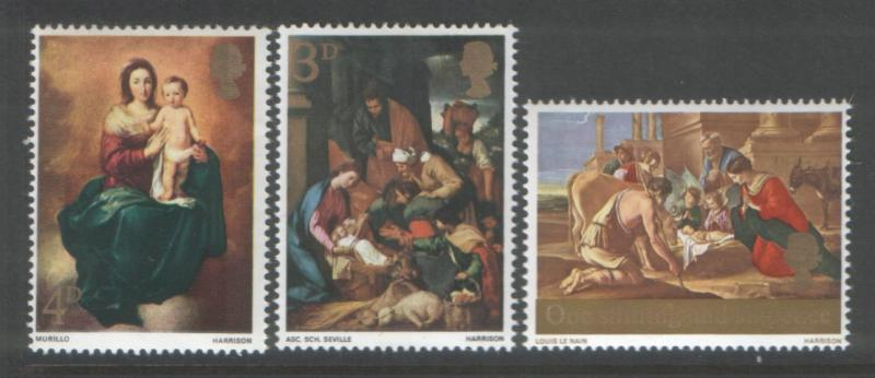 Great Britain 1967 Christmas (3) Scott # 522-24
