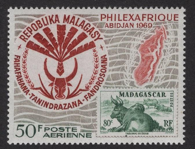 Malagasy Republic   #C92  MNH  1969  2 nd issue Philexafrique 50f map and emblem