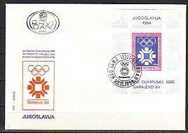 Yugoslavia, Scott cat. 1651. Sarajevo W. Olympics s/sheet. First day cover. ^