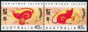Christmas Islands Scott 377a MNHOG - 1996 Year of the Rat Pair -  SCV $3.00