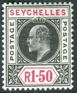 SEYCHELLES-1903 1r 50 Black & Carmine.  A mounted mint example Sg 55