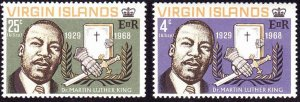 BRITISH VIRGIN ISLANDS 1968 QEII Martin Luther King Commeration Set SG226-227 MH