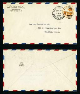 Air Mail Cover from Levonel Company, New York, NY to Chicago, IL dated 4-24-1939
