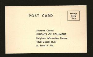 USA Vintage Knights of Columbus Postcard Unused