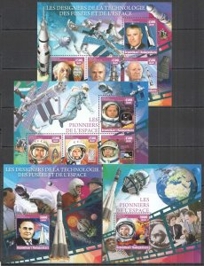 XZ0044-5 2016 MADAGASCAR GAGARIN ARMSTRONG SPACE PIONEERS SCIENTISTS 2KB+2BL MNH