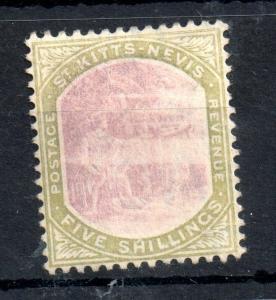 St Kitts & Nevis 1903-05 5/- green purple mint no gum WS13451