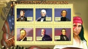 Guinea - US Presidents - 6 Stamp  Sheet 7B-1438