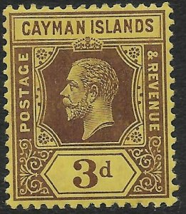 CAYMAN ISLANDS SG45 1913 3d PURPLE ON YELLOW WHITE BACK MTD MINT