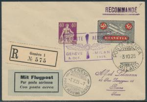 SWITZERLAND FLIGHT COVER REGISTERED OCT 3,1925 GENEVE - MILAN BR8728