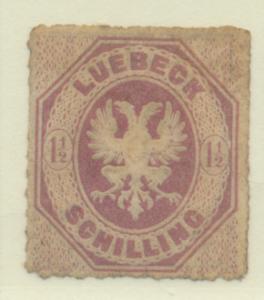 Lubeck (German State) Stamp Scott #14, Unused, No Gum, Faults - Free U.S. Shi...