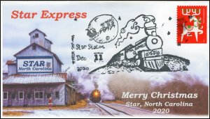 20-296, 2020, Christmas Star NC, Event Cover, Pictorial Postmark, Star Express