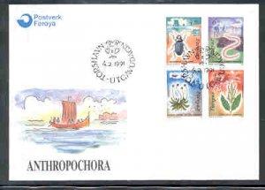 Faroe Islands Sc 216-19 1991 Flora & Fauna stamp set on FDC