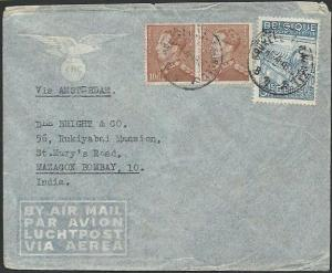BELGIUM 1948 airmail cover to India - nice franking inc pair 10f...........59310