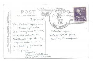 Naval USS Fort Mandan LSD-21 4 Bar Cancel 1952 on Postcard