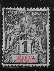 Senegal #35 1c blk.lit blue Navigation & Commerce  ( MH)  CV $1.60