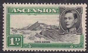 Ascension Island 1938 - 53 KGV1 1d Black & Green MM SG 39d ( A745 )