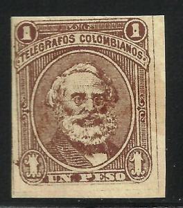 Colombia Telegraph 1881 Hiscocks# 5 MH