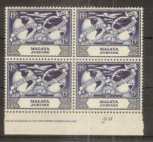 Johore 1949 15c UPU MNH Block Plate 2a