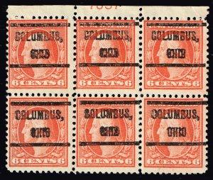 US STAMP #506 6c 1917 Flat Plate OHIO PRECANCEL PL# BLK OF 6 MNH/OG $300
