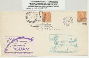 USA- GUAM ROUND TRIP 1st FLIGHT(#1243var) COVER, SHORT PAID, 2CACHETS(SEE BELOW)