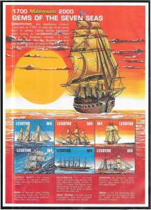 Lesotho #1213-1216   Gems of the Seven Seas  Sheets of 6 (MNH) CV $30.00