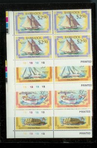BARBADOS Sc#577-580 Complete Mint Never Hinged PLATE BLOCK Set