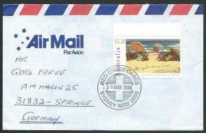 AUSTRALIA 1996 cover to Germany - nice franking - Sydney Red Cross pmk.....14775