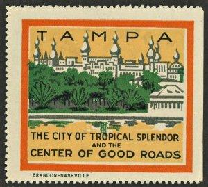 1910s TAMPA  FLORIDA  USA Advertising Poster Stamp