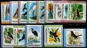 HERRICKSTAMP MONTSERRAT Sc.# 231-43A 1970 Birds Complete Set of 14