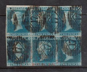 Great Britain #4 (SG #14) Used Reconstructed Block Of Six From Two Strips Of 3