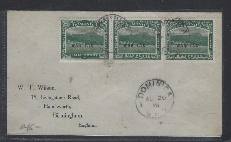 DOMINICA  (PP1207B)  196 5 KGV  WAR TAX 1/2D X3 TO ENGLAND