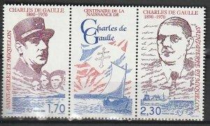 1990 St. Pierre and Miquelon - Sc 548a - MNH VF - 1 pr - Charles De Gaulle
