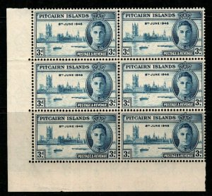 PITCAIRN ISLANDS SG10/a 1946 3d VICTORY 1 WITH FLAGSTAFF FLAW BLK OF 6 MTD MINT