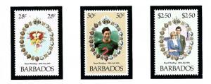 Barbados 547-49 MNH 1982 Prince Charles Wedding
